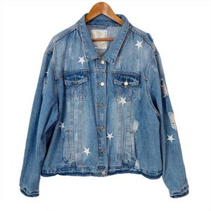 ANGEL KISS Hailey Star Embroidered Denim Jacket